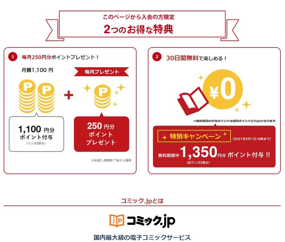 コミックjp特典ポイント2倍特別キャンペーンj